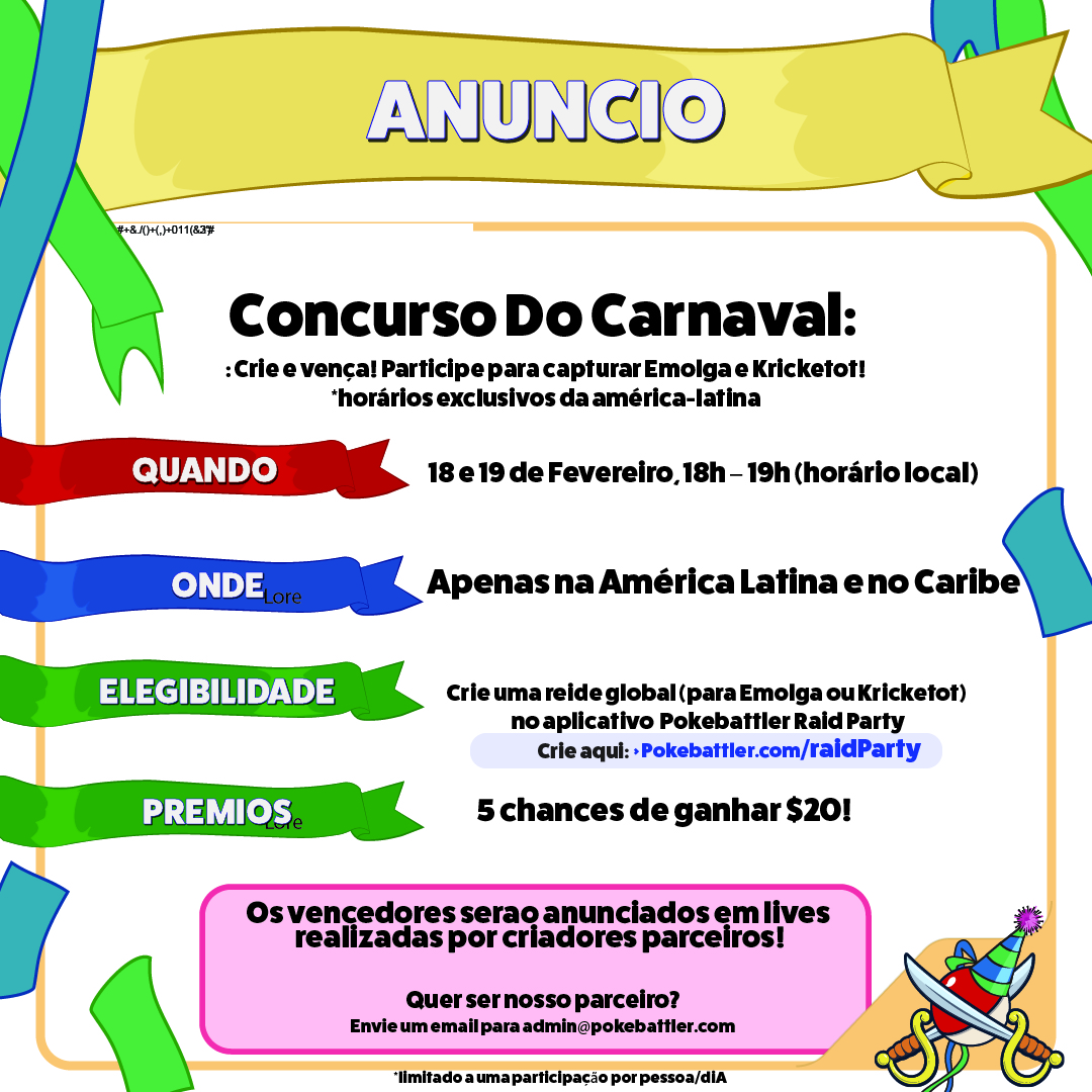 Concurso de Carnaval do Pokebattler Raid Party
