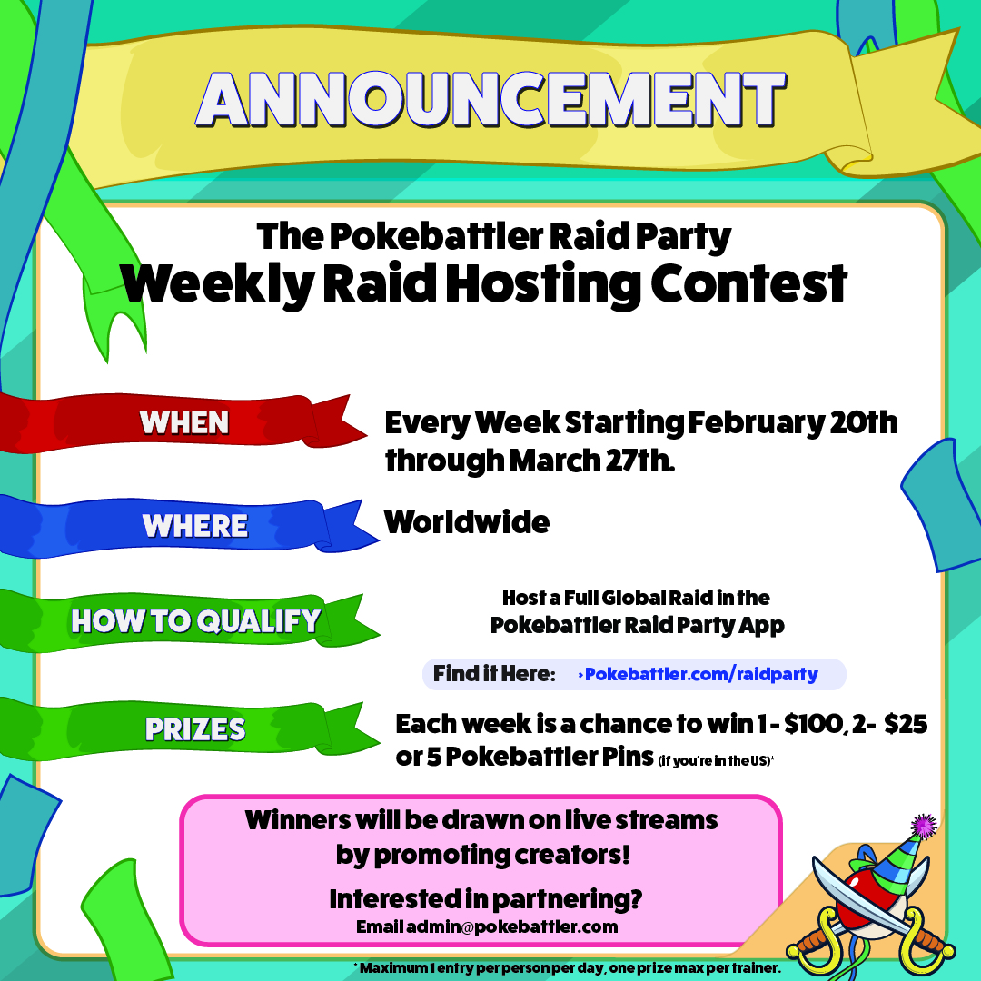 New Contest: Weekly Raid Party App Lottery Starting 2/20/21